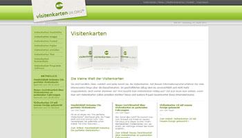 Bild der Startseite von Visitenkarten-24.org