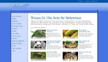 Abbildung der Startseite von Wissen 24.